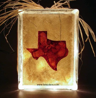 Texas Map on Lighted Glass Block