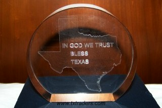 In God We Trust - God Bless Texas - Genuine Lead Crystal