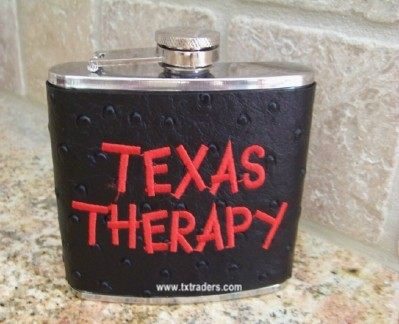 "Texas Flask - Ostrich Flask ""Texas Therapy"""