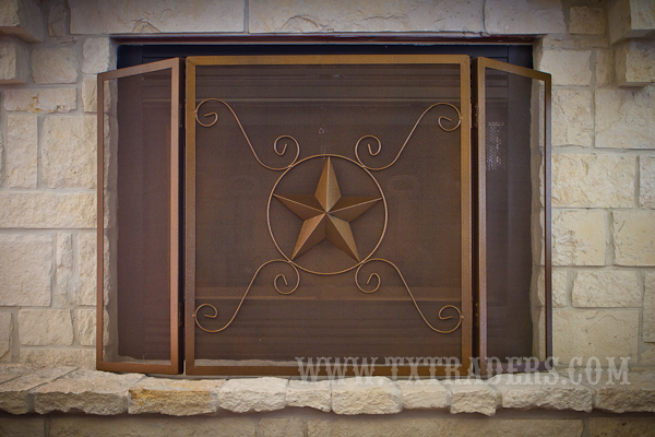 Texas Size Fireplace Screen with Texas Lone Star - keep the fires burning bright in Texas! One of our most popular home decor items! Not available for local pickup.