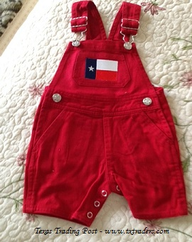 Baby Texas Denim Short Overalls with the Texas Flag