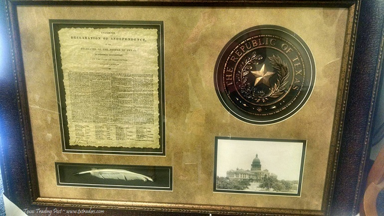 Framed Texas Declaration of Independence with State Seal and Quill
