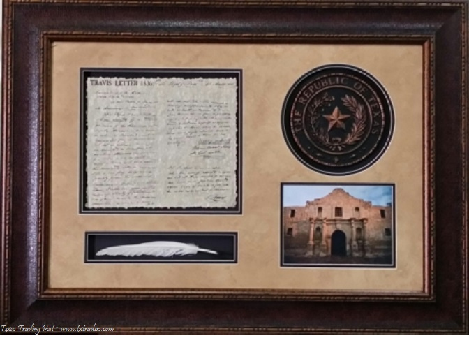 Framed Travis Letter with Republic of Texas Seal, Alamo and Quill
