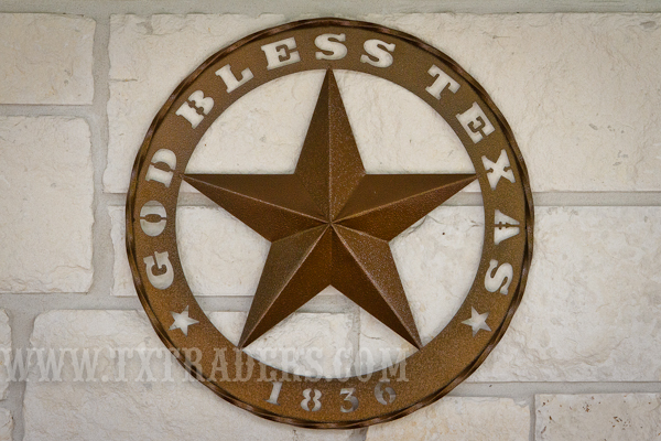 Metal Art God Bless Texas 1836 Star