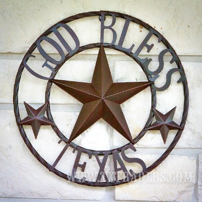 Metal Art God Bless Texas
