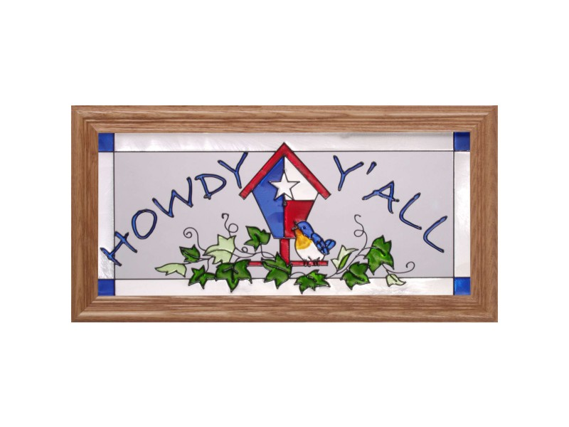 Texas Bird House and Howdy Y'all Hand Painted Glass Art