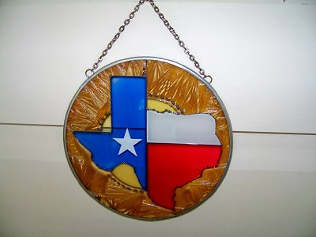 Hand Painted Glass Art with the Texas Map