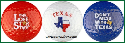 Golf Balls (3) with Texas Slogans