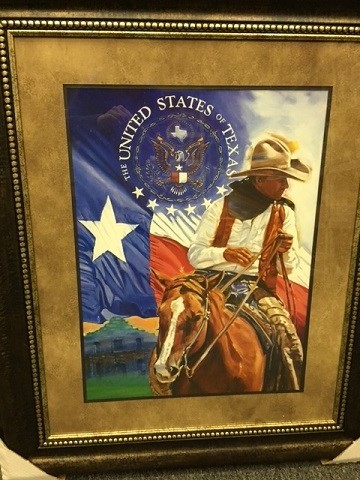 "Framed ""United States of Texas"" with Texas Flag"