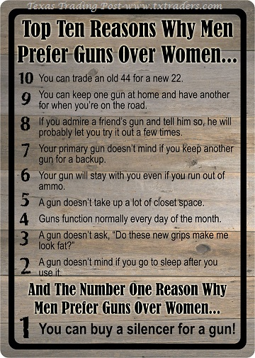 Top 10 Reasons Why Men Prefer Guns Over Women Sign