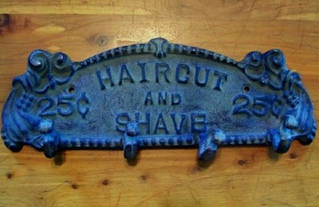 Haircut and Shave Sign - Texas Barbershop Sign