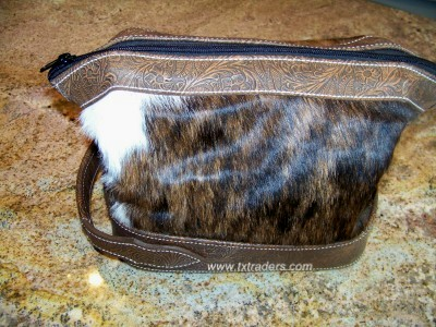 Brazilian Cowhide Hand-Tooled Shaving Kit or Toiletries Bag