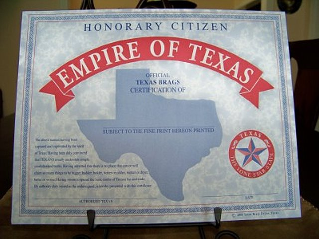 Honorary Citizen of the Empire of Texas-Certificate of Citizenship