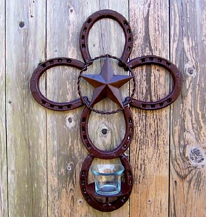 Horseshoe Cross -Texas Lone Star Votive Candle Holder
