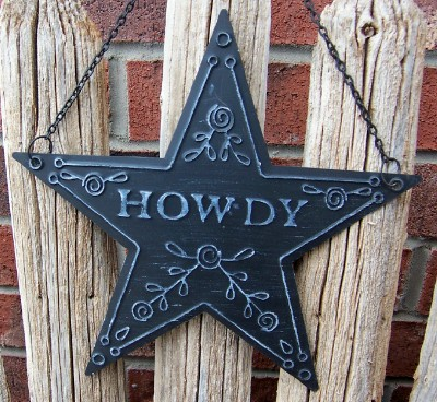 Howdy Texas Lone Star Sign Blue