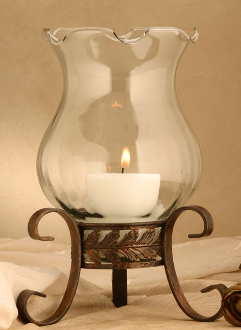 Hurricane Lamp with Acantus Leaves