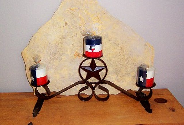Texas Lone Star Pillar Candle Holder
