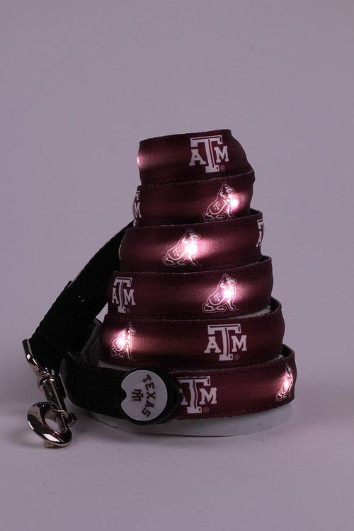 Lighted Dog Leash with Texas A&M Logo