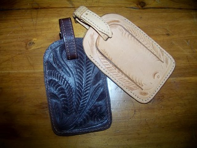 Hand Tooled Luggage Tags from Ropin West