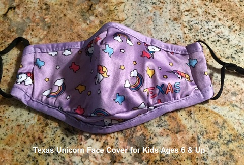 Texas Unicorn Mask - Cloth Face Cover - For Kids 6 & Up