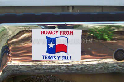 Howdy From Texas - Mini Bumper Sticker