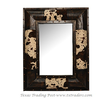 Mirror - Faux Cowhide with Brass Accents