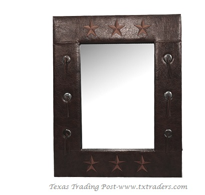 Mirror - Faux Leather with Texas Lone Stars