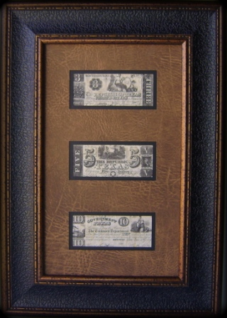 Framed Republic of Texas Money - $3 - $5 - $10