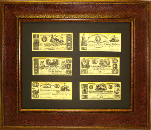 Framed Republic of Texas Money - $3-$5-$10-$20-$50-$100
