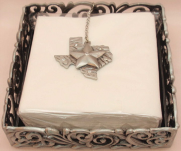 Texas Pewter Beverage or Dessert Napkin Box