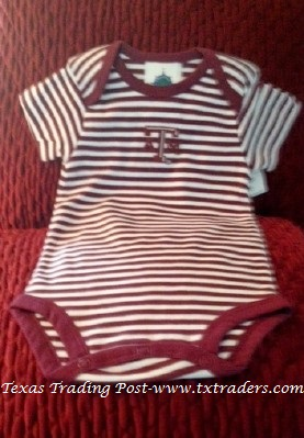 Baby Texas Aggie Onesie with the ATM logo