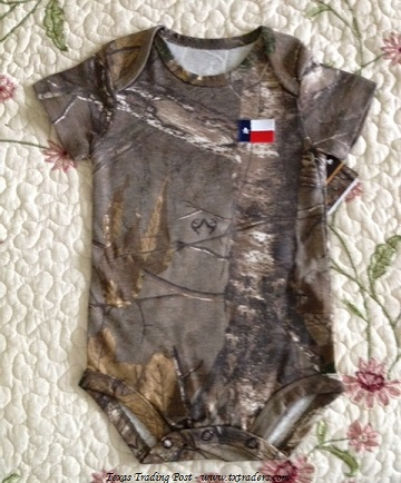 Baby Texan Camo Onesie with the Texas Flag
