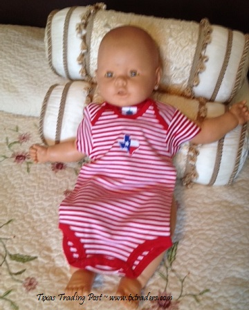 Baby One-Piece Set with Embroidered Map of Texas-RW