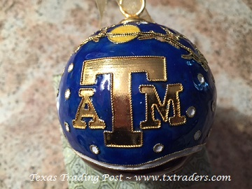 Cloisonne Texas Aggie Holiday Christmas Ornament with Santa