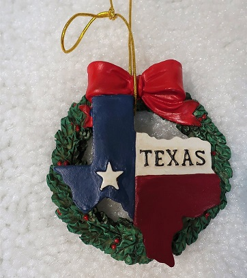Texas Christmas Ornament - Texas Wreath
