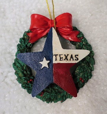 Texas Christmas Ornament - Texas Lone Star on Wreath