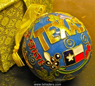 cloisonne pure texas exclusive ornament - Texas Christmas Ornaments