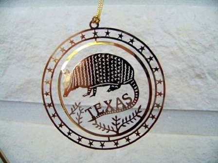 "Spinner Ornament with the Armadillo and ""Texas"""