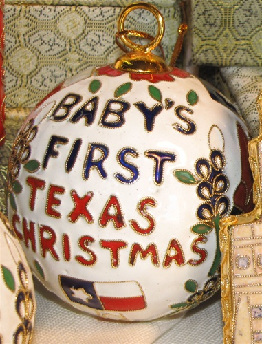 Cloisonne Baby's First Texas Christmas Ornament