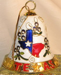 Cloisonne Bell Ornament - State of Texas and Bluebonnets