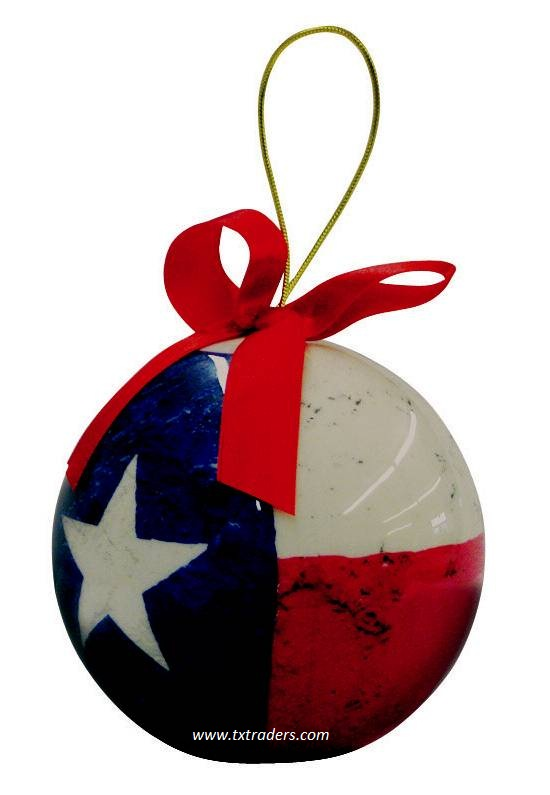 Texas Flag Decopauge Christmas Ornament