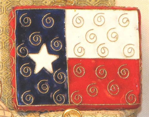 Cloisonne Texas Flag Shaped Ornament
