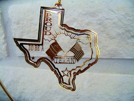 "Spinner Ornament with ""Proud To Be a Texan"" and Flags"