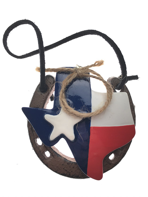 Horseshoe Ornament for Good Luck with the Texas Map