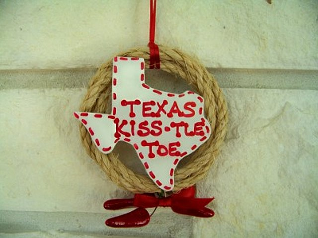 Texas Kiss-tle Toe Christmas Ornament