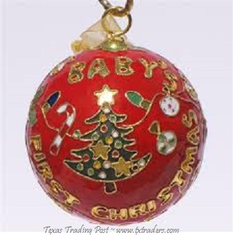 Cloisonne Baby's First Christmas Ornament - Red