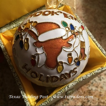 Cloisonne U.T. Bevo Texas Hook 'Em Holidays Christmas Ornament