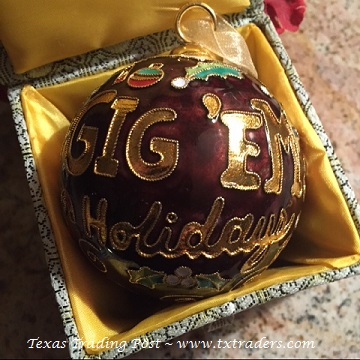 Cloisonne Texas Aggie Gig 'em Holiday Christmas Ornament