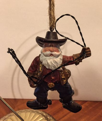 Texas Cowboy Santa Ornament with Lariat