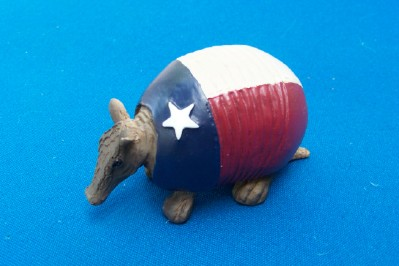 Mini Armadillo Ornament in the Texas Flag